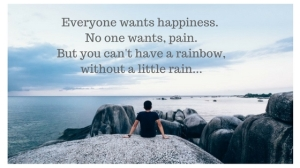 Everyone wants happiness, no-one wants pain,But you can't have a rainbow, without a little rain...